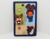 Dog Sports Light Switch Cover or Outlet Cover- Childrens Sports Nursery Decor- Bow Wow Nursery - Puppy Nursery - Toggle or Rocker Cover
