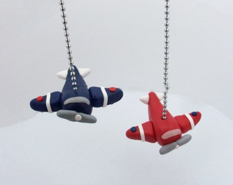 ONE Airplane Fan Pull,  Childrens Airplane Decor - Transportation Themed Bedroom - Airplane Nursery - Aviation - Polymer Clay