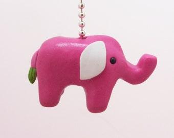 Elephant Fan Pull Chain - Elephant Nursery - Jungle Nursery - Children's Elephant Safari Decor - Polymer Clay