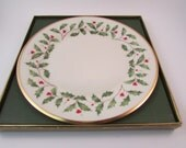 Vintage Lenox Holiday Dinner Plate In Original Box Holly Leaf Pattern Christmas Holiday Plate
