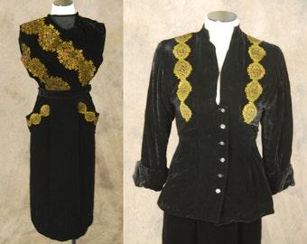 vintage 40s Silk Velvet Suit - 1940s Novelty Persian Print Black Velvet Suit - 3 pc Suit Sz XS