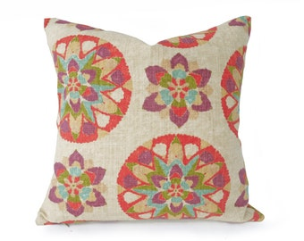 Multicolor Suzani Pillow, Cream Decorative Throw Pillows, Colorful Pillow Covers, Coral Red Purple, Boho Chic, 12x18, 16x16, 18x18, 20x20