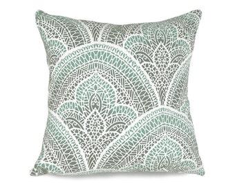 Moroccan Pillow Cover, Aqua Decorative Throw Pillows, Grey Green Mosaic Pillows, Graphic Cushions, Green Blue Cream, Dorm Decor, 20x20