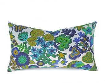 Blue Green Floral Pillows, 12x20 Lumbar Pillow, Eco Friendly Pillow Covers, Repurposed Pillows, Upcycled, Cottage Cushions, Rectangle 12x20