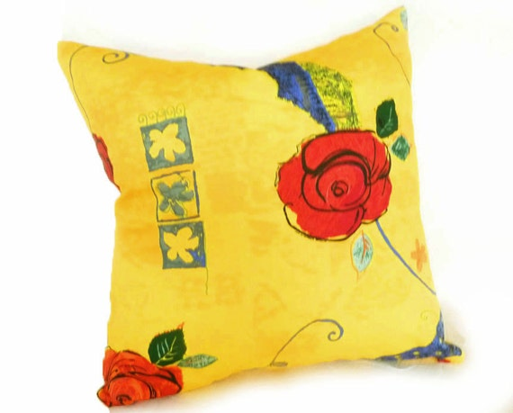 Bright Yellow Decorative Pillows : Bright Yellow Pillow Floral Pillows Yellow Throw Pillows
