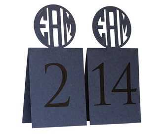 Circle Monogram Table Numbers - custom cutout initials
