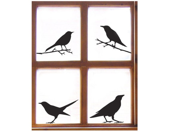 Bird Window Sticker Set (4 Decals) Starling, Sparrow, Raven, Blackbird