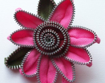Hot Pink and Cranberry / Burgundy Floral Brooch / Zipper Pin by ZipPinning 2790
