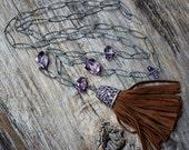 Boho Amethyst Diamond Tassel Necklace, Oxidized Sterling Silver, Long Statement Necklace, Pave Bohochic Tassel Necklace, Birthstone Necklace