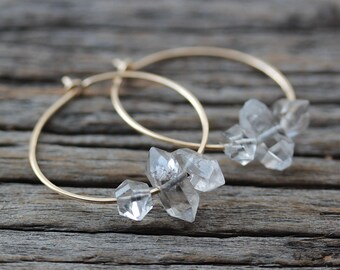 Herkimer Diamond Hoop Earrings / 14K Gold Filled Natural Double Terminated Crystals / Dainty Hoop Earrings / Bohemian Boho Gypsy Hoops