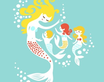 """10X13"""" mermaid mother with 1 boy and 2 girl giclee art print on fine art paper. muted teal, light turquoise, blonde, redhead."""