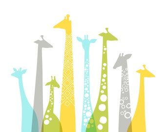 "20X16"" giraffe silhouettes landscape giclee print on fine art paper. light blue, green, yellow and gray."
