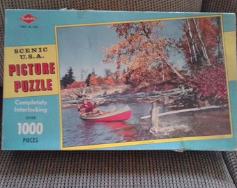 "Vintage 50s Warren Built Rite Scenic U.S.A. Picture Puzzle ""A Prize Northern"" #1198C:88"
