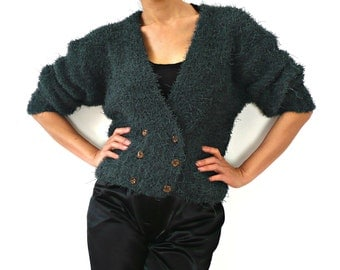 French Vintage Blue Fuzzy Knit Crop Jacket