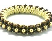 DIY Bangle Beading Kit with Super Duo Beads, Ivory & Bronze Bling Bangle