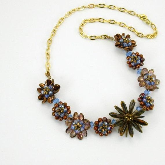 Tutorial - Bead Jewelry PDF Pattern - Flower Petal Necklace