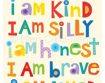 Kids Wall Art- I am kind I am brave I am smart|nursery decor| inspirational decor| typography art