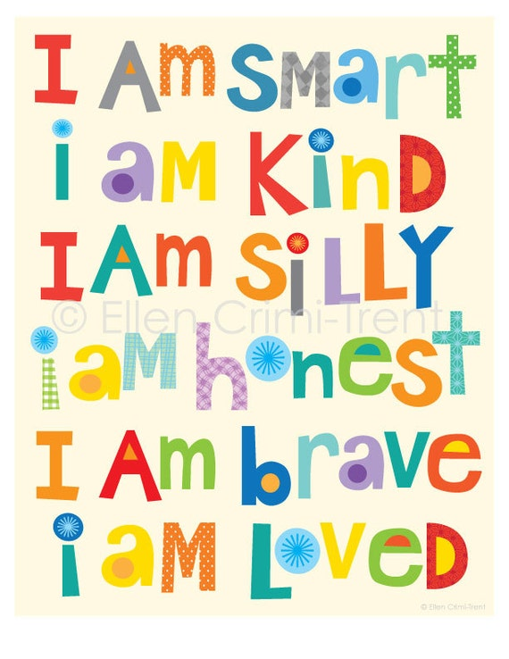 Kids Wall Art I Am Kind I Am Brave I Am Smartnursery Decor