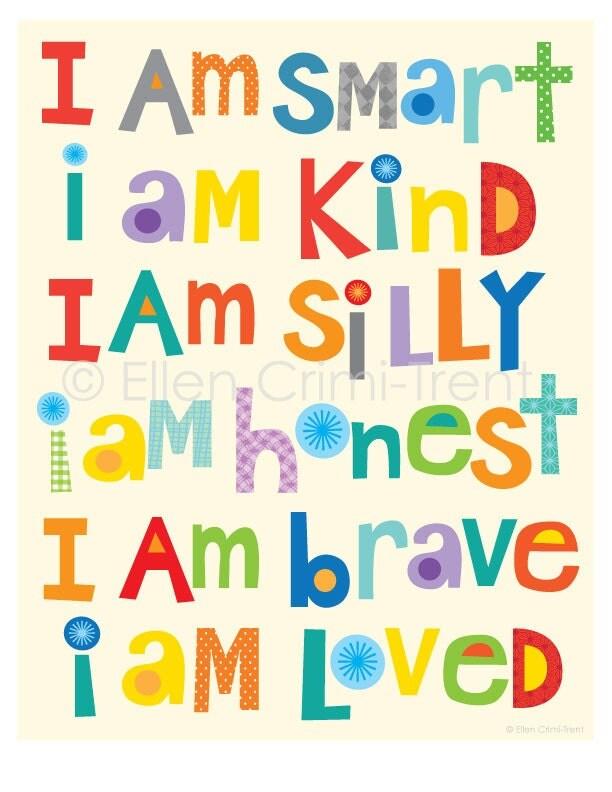 Kids Wall Art I Am Kind I Am Brave I Am Smartnursery Decor