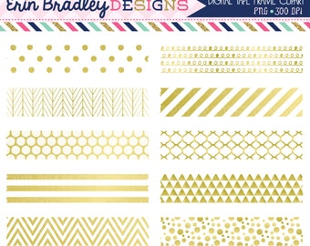 White and Gold Digital Washi Tape Clipart Graphics Gold Foil Clip Art Instant Download