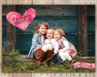 Watercolor Heart - Custom Digital Photo Valentine's Day Card
