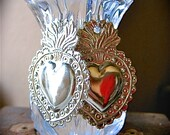 Med. Silver SACRED HEART Intricate Milagro Earrings- Perfect gift for the one you love- 1.5""