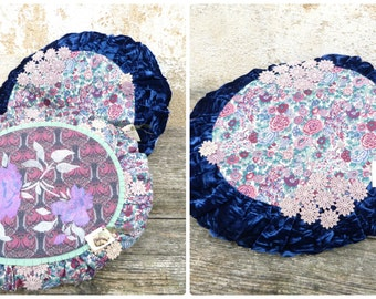 Handmade by me  liberty cotton + velvet pillow adorned with dyed at home cotton lace