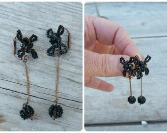Black Handmade in France  long dangles earrings  leverbacks