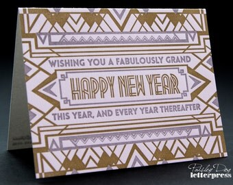 Letterpress Greeting Card – Art Deco Inspired / New Year / Holiday / Great Gatsby / The Roaring Twenties / Gift (Single Card)