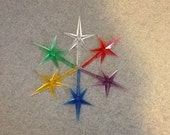 One Replacement  STAR, Medium, for ceramic Christmas tree  in ,Red, Purple, Blue, green, pale  yellow or Clear