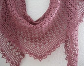 Crochet baktus shawl/scarf, soft cotton, NARROW, antique pink, made by Demet
