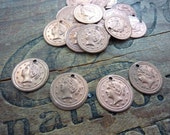 Vintage Copper Steel Coin Drop Pink Copper (8) EQ141-D