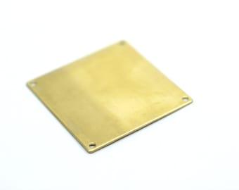 5 Raw Brass Square Blanks 4 Holes (40x40x0.80 Mm) D280--c102