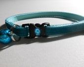 Plush Velvet Cat or Kitten Breakaway Collar - Teal/Bling Collar