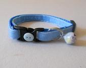 Light Blue Velvet Cat or Kitten Breakaway Collar