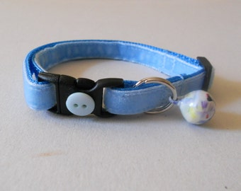 Light Blue Velvet Cat or Kitten Breakaway Collar