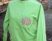 SMALL Monogrammed Comfort Color Tshirt.  Long sleeve, Monogrammed T-shirt.  KIWI comfort color T.