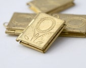 Raw Brass Book Floral Flower Tooled Rectangle Lockets 22mm (4)