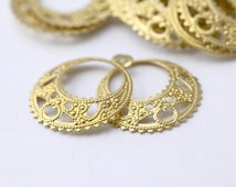 Brass Hoops Filigree Drop Earring Pendant Findings 20mm (12)
