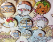 Rupert the Bear vintage pin badge set x 9 cut from original 1970's Annual,Great British Bake Off,baking,butterfly cake,