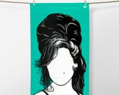 Amy Winehouse Tea Towel, Amy Winehouse Towel, Amy Winehouse Dishcloth, Pop Icon Tea Towel, Amy Winehouse Merchandise, Green Tea Towel