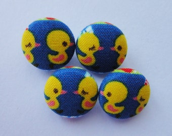 Cute Baby Chicks Japanese Fabric Covered Buttons For Sewing - Set of 4 - Size 15mm