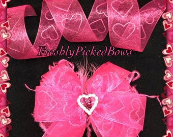 Valentine bow with curly ostrich and heart rhinestone center