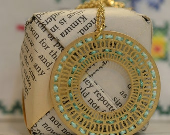 Gold Turquoise Circle Pendant Necklace, Cross Stitch Jewelry