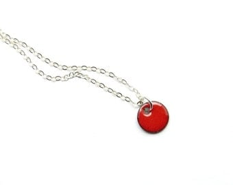 Small Charm Necklace, Tiny Red Pendant, Enamel on Copper, Delicate Sterling Silver Chain