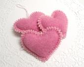 Three Pink Cashmere Hearts Nursery Decor Girl Room Decoration Shabby Cottage Chic Decor Valentines Day Gift Valentine Ornament 320
