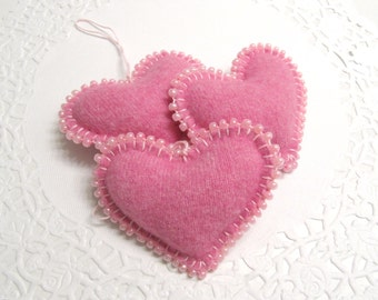 Three Pink Cashmere Heart Valentine Decorations Ornaments Handmade from a Felted Wool Sweater (no.320)