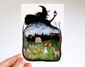 Fairy Tale - Postcard, watercolor illustration, Little Red Riding Hood, Snow White, Witch, Wolf