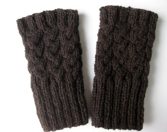 Boot Socks, Boot Cuffs, Boot Toppers, Knit Leg Warmers, Dark Brown Wool, Cables,  Length 8 in., Ready To Ship