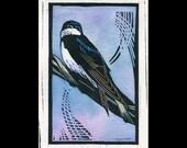 Tree Swallow hand painted linocut